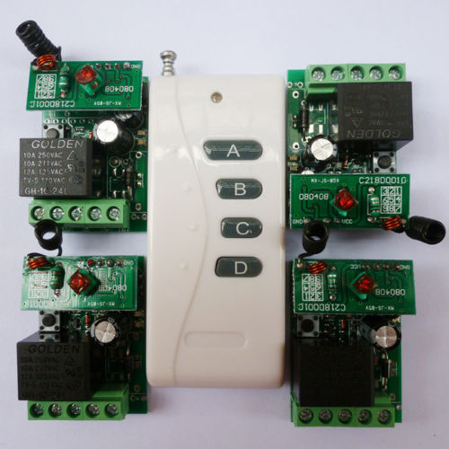 1PCS Wireless Remote Relay RF Control Switch System 4PCS Receivers 433MHZ DC24V