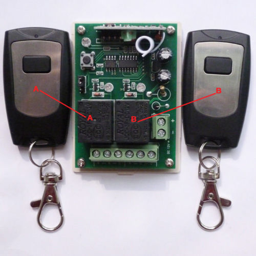 2 PCS 1 Button Remote Wireless Control 2 Channel Receiver Independently 12V 433M