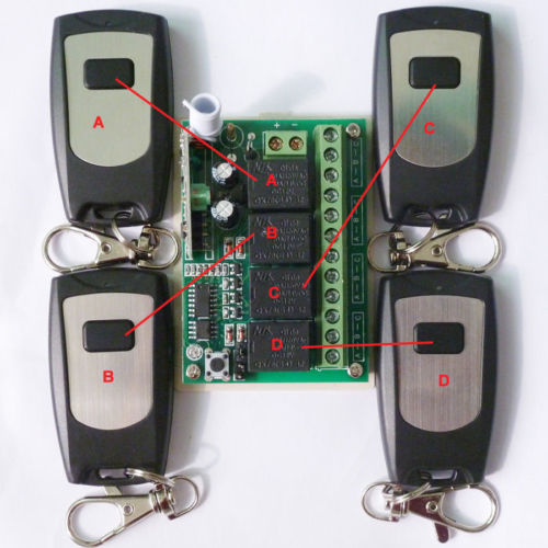 4 PCS 1 Button Remote Wireless Control 4 Channel Receiver Independently 12V 433M