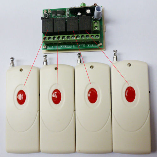 4 pcs Remote RF Wireless Control 4 Channel Receiver DC12V 433MHz Relay Switch