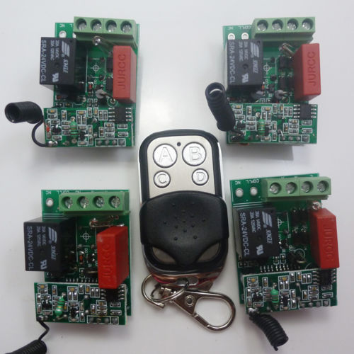AC220V 4 Button Remote Control 4 PCS RF Wireless Relay Receiver Switch ON OFF
