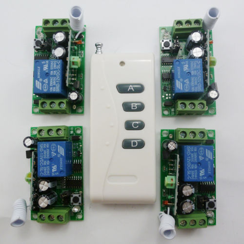 1PCS Wireless Remote Relay RF Control Switch System 4PCS Receivers 433MHZ DC12V