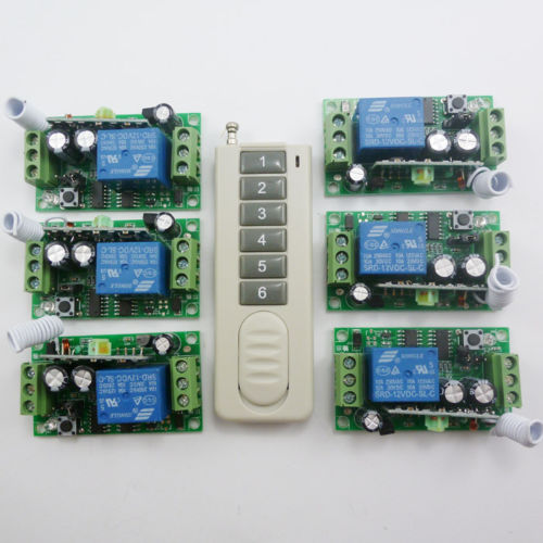 6Button Remote Control 6 pcs 1 Channel Receiver 1 Button 1 Receiver Independent