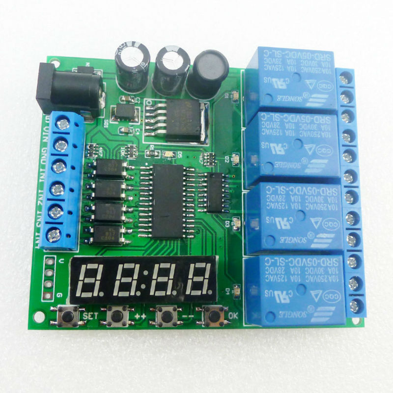 DC 12V 4 Channel Multifunction Cycle Delay Timer Relay Module : Timing Loop Interlock Self-locking Momentary Bistable Monostable