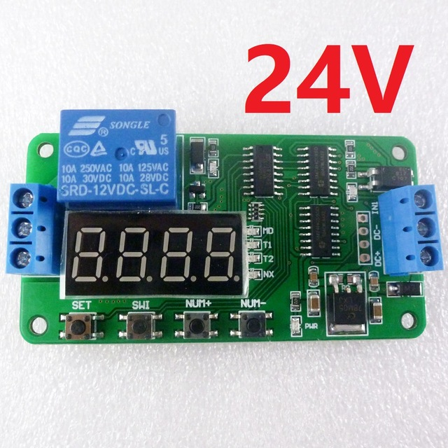 DC 24V Multifunction Self-lock Relay PLC Cycle Timer Module Delay Time Switch
