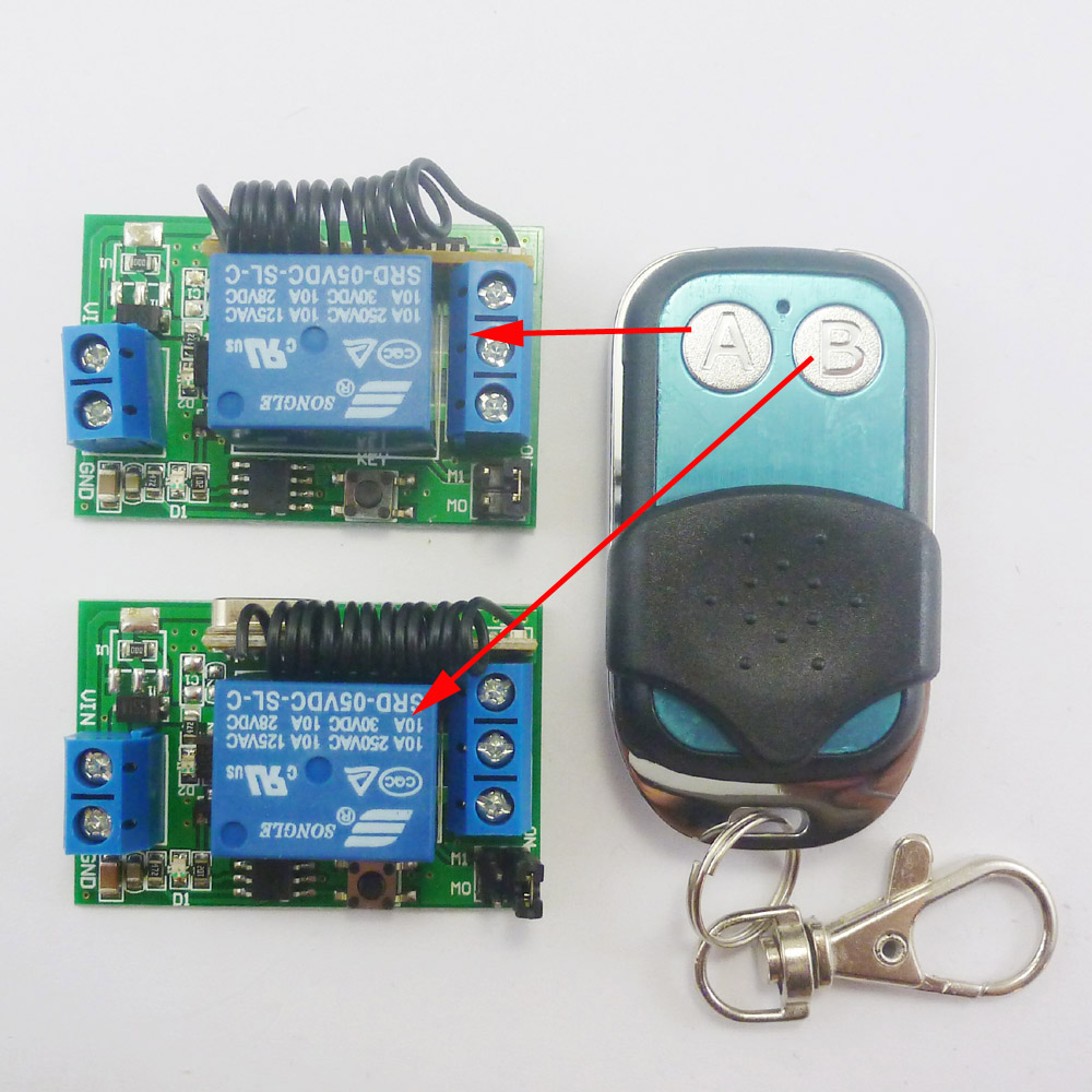 1+2 DC 5V RF Wireless Switch Delay Relay Time Timer Remote Control EV1527 433M