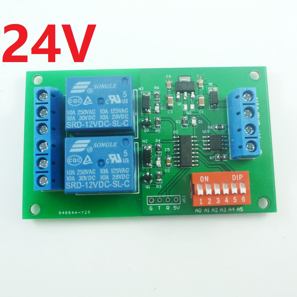 DC 24V 2ch RS485 Modbus RTU Relay Board Serial port Switch Module