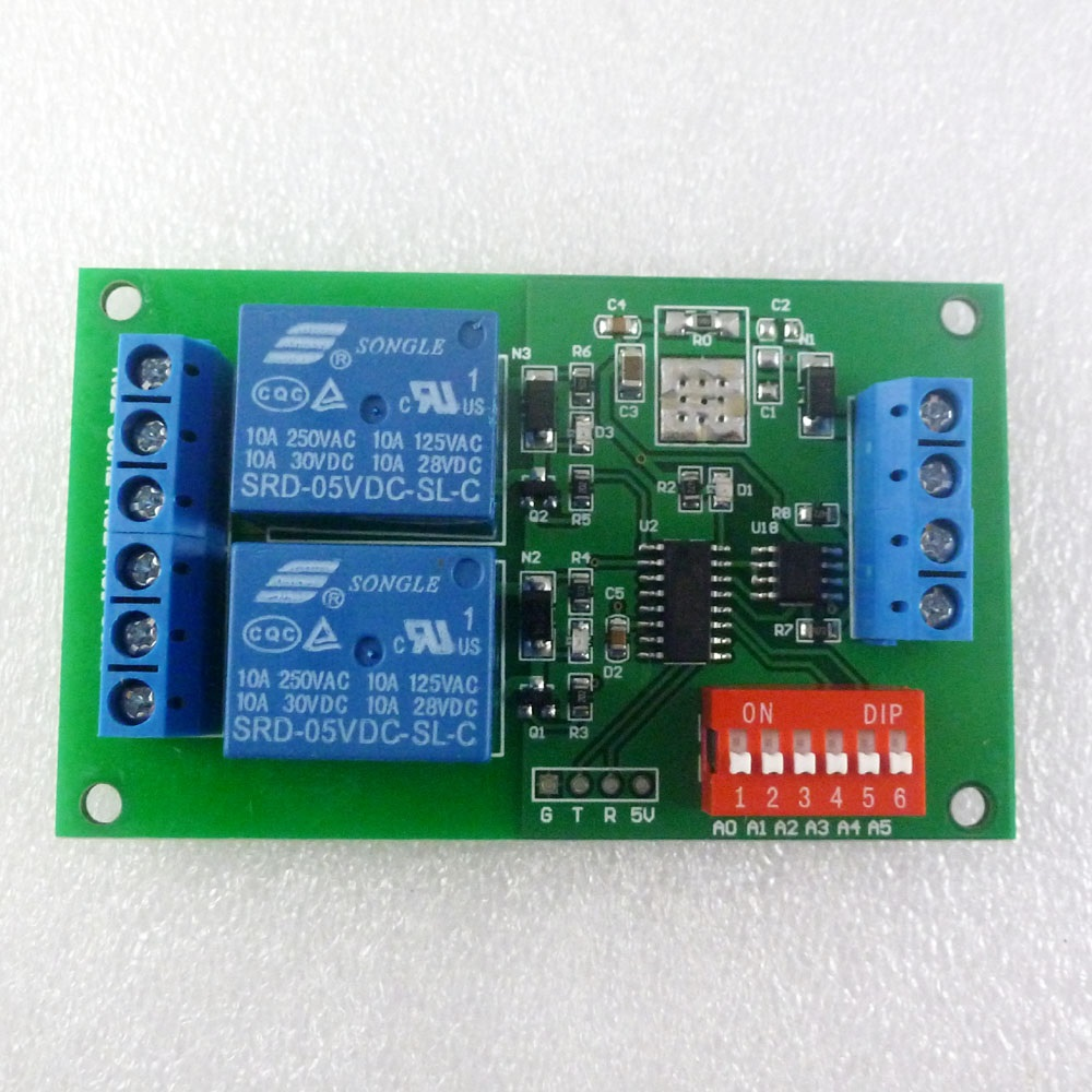 DC 5V 2 Channel RS485 Relay Board UART Serial port Switch Module Modbus AT command Control for PLC Smart Home automated industry