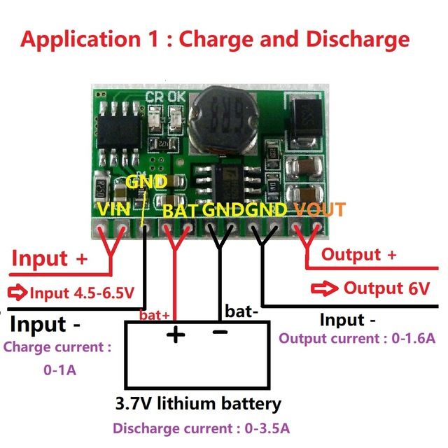 10W 2 in 1 Charger & Boost DC DC Converter Step-up Module Board Charge in 4.5-6.5V Boost out 6V
