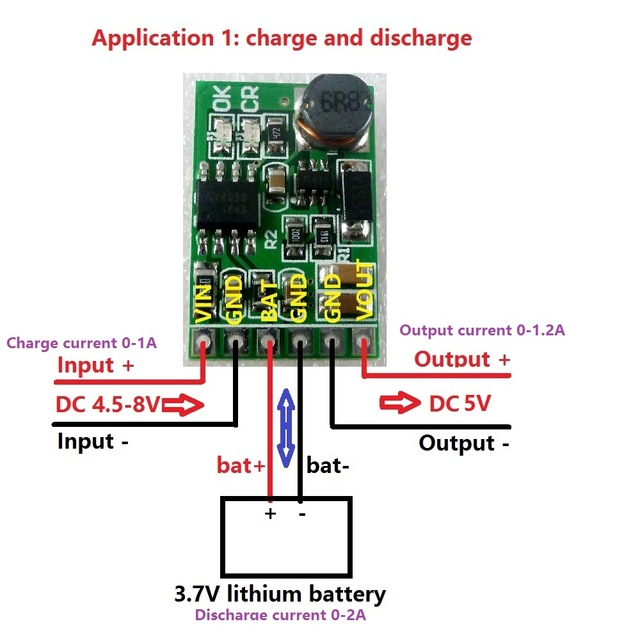 Lithium Battery Charging Module 5V Power Supply Constant Current 1A Charge Board