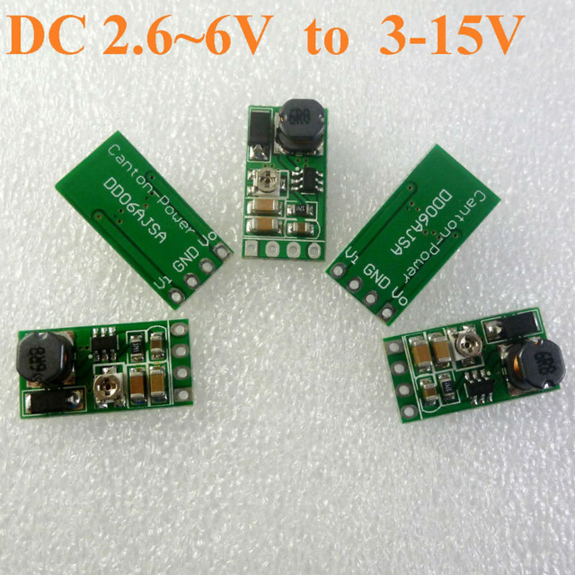 5PCS 2.7-6V TO 3-15V DC DC Boost Adjustable Converter for LED driver 18650 Lithium battery portable charger