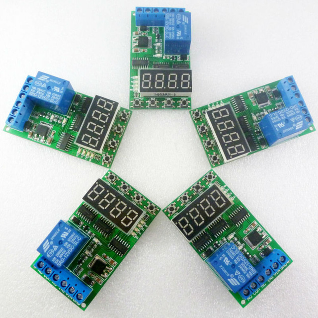 5PCS 2.5-24V High PulseT rigger DC 12V Multifunction Self-lock Relay PLC Cycle Timer Module Delay Time Switch