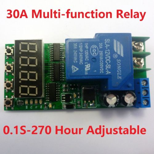 DC 12V 30A High Power Multifunction Cycle Timer Delay Relay PLC Module 0.1s-270h