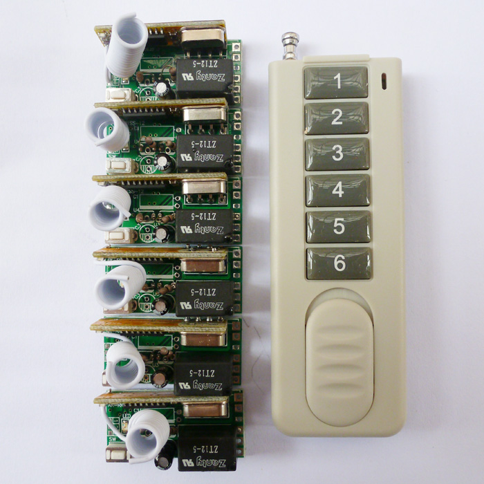 DC 5V 1PCS Wireless Remote Relay RF Control Switch System 6PCS Receivers 433MHZ