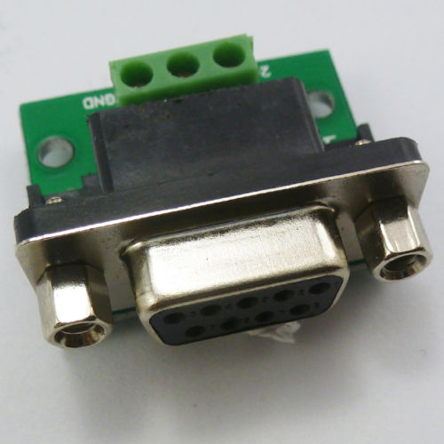 DB9 DE9 D-SUB Female Adapter 3 Pin Signals Terminal Breakout Board RS232 422 485