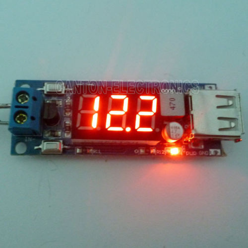 2 in 1 Voltmeter & USB Step-Down Buck Module DC 24V 12V to 5V Li Battery Charger