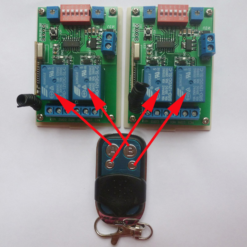 12V Wireless Dip Switch Selection Mode For Each Channel M-T-L Delay 0-500000 Sec