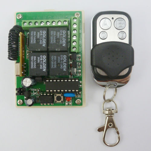 24V Rolling code HCS301 Transmitter Keyfob & 4 Relay Receiver Controls 433.92MHZ