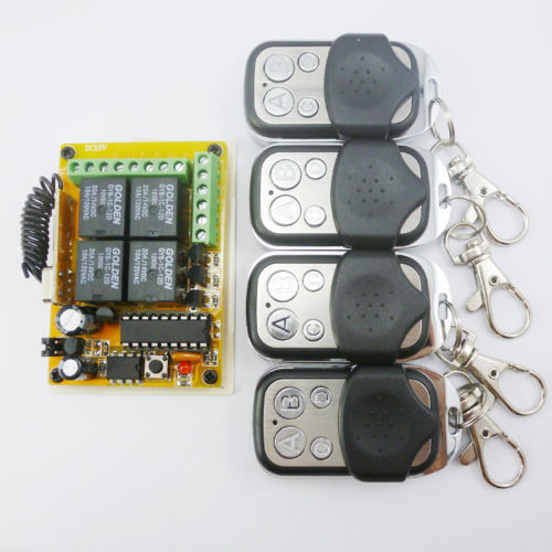 4 Road RF Wireless Remotes 433MHZ Rolling Code HCS301 Relay Receiver Modules