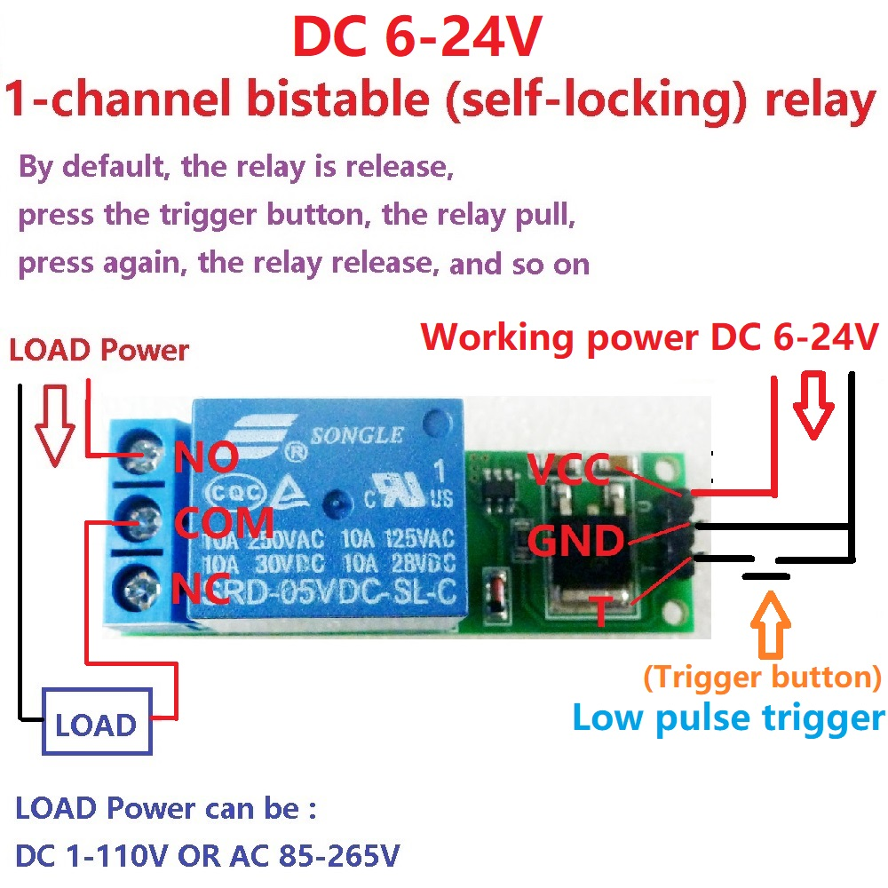 Mini 6 24v Flip Flop Latch Relay Module Bistable Self Locking Switch Ac Power Low